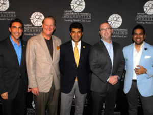Inaugural All In Fore the Kids Committee Members: Chairs Jesus Salas and John Agnetti, Sponsorship Chair and Miami Children's Hospital President & CEO Dr. M. Narendra Kini, Dan LaMorte on behalf of Gentlemen's Night Out Presenting Sponsor Turner Construction, Auction Chair Ricky Patel