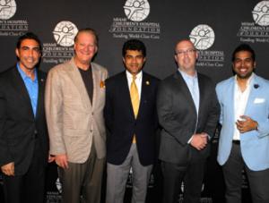 Jesus Zeus Salas and John Agnetti, Sponsorship Chair and Miami Children's Hospital President &; CEO Dr. M. Narendra Kini, Dan LaMorte, Ricky Patel